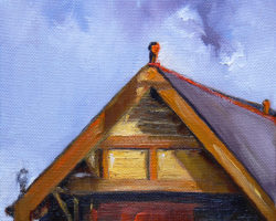 """Gatehouse Roof"" 2014 oil on canvas. 15x15cm"