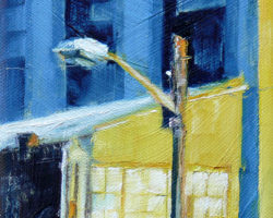 """Lightpole & Verandah at The Exchange"" 2015 oil on canvas. 18x13cm"