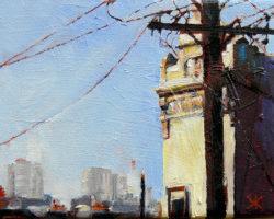 """""""Pole & Pots"""" 2015 oil on canvas. 13x18cm"""