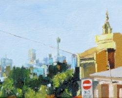 """Yellow Terrace on Ewell"" 2015 oil on canvas. 13x18cm"