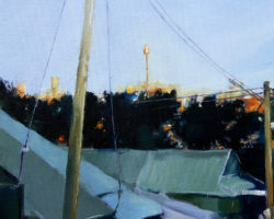 """Rooftops over Brent Street"" 2015 oil on canvas. 13x18cm"