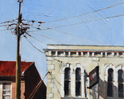 "Peninsula Rooftops 2016 - ""Darling Street 2 (Balmain)"". Oil on linen. 33x33cm. Private Collection"