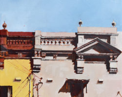 "Peninsula Rooftops 2016 - ""Darling Street 3 (Balmain)"" Oil on linen. 33x33cm. Private Collection"