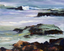 """""""Rocks & Sea"""" Oil. 2013.64.4x64.5cm.  Finalist: Lethbridge Small Scale Art Award 2013. Artists Collection. Limited edition reproductions: 61x61cm and 100x100cm."""