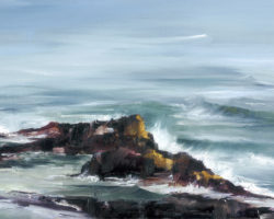 """Rocky Outcrops (Rocks & Sea 2)"" 2013 oil on canvas. 32x51cm. Available from Suzy King."
