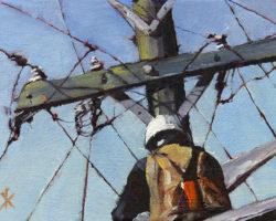 """Hard Hat"" 2016 oil on canvas 13x18cm"
