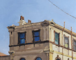 "Peninsula Rooftops 2016 - ""Victoria & Hancock"" (Rozelle) Oil on linen. 33x33cm. Private Collection"