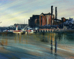 """White Bay (power station)"" 2008 acrylic on canvas. 13x18cm"