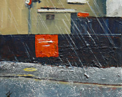 """Wednesday's Hail Storm"" 2015 oil on canvas 15x15cm"