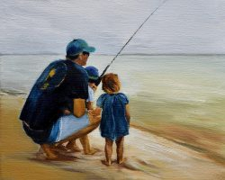 """Waiting for the Big Catch"" Oil on linen. 36x31cm. 2017. Private commission"