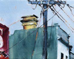 """Yellow Chimney"" 2017 oil on canvas. 13x18cm"