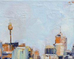 """""""City Skyline"""" 2015 oil on canvas. 13x18cm"""