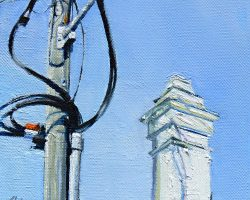"""Curly Wires & a Chimney II"" 2015 oil on canvas. 15x15cm"