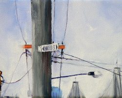 """Light Pole on Mansfield"" 2013 oil on canvas. 13x18cm"