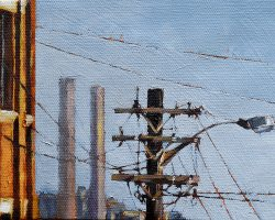 """Power Pole & Coal Power"" 2017. oil on canvas. 13x18cm"