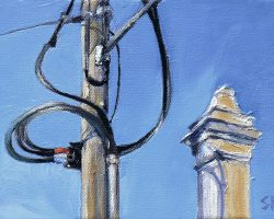 """Curly Wires & A Chimney"" 2011. oil on canvas. 13x18cm"