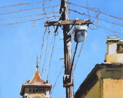 """Light Pole on Jane"" 2017 oil on canvas. 18x13cm. SOLD"