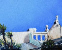 """Roof on Little Beattie"" 2011 oil on canvas. 13x18cm"