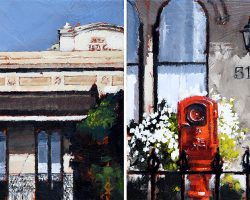 """""""517"""" Oil on canvas, 15x30cm (two panels). 2018. private commission"""