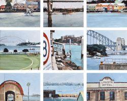 """""""The Balmain Peninsula"""" oil on canvas. 31x31cm ea. 2018. Commission"""