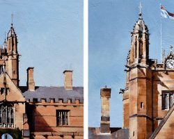 """University of Sydney Approaching 2pm"" 2018, oil on canvas. 33x33cm each"