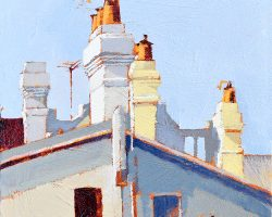 """Balmain Rooftops""  2018. Oil on canvas, 15x15cm. SOLD"