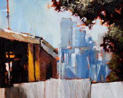 """No Parking on Balmain Hill""  2018. Oil on canvas, 18x13cm."