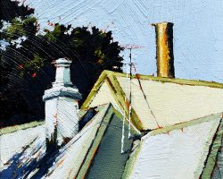 """Roofs & Chimneys""  2018. Oil on canvas, 15x15cm."