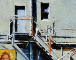 """Exchange Fire Escape"" 2015 oil on canvas. 15x15cm. SOLD"