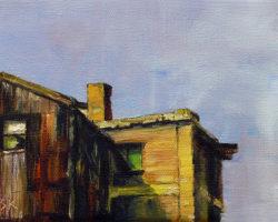 """Green Window"" 2014 oil on canvas. 13x18cm"