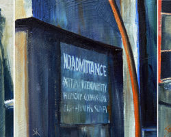 """No Admittance"" 2014 oil on canvas (3 panels) 15x45cm"