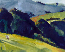 """Landscape near Bowral"" Study. acrylic on paper"