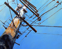 """Power Pole, Rydalmere"". Oil. 102x76cm. 2014 Corporate commission: CHK Power Quality Pty Limited"