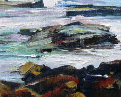 "Study for ""Rocks & Sea"" 2013. Oil. 20x20cm. Available from Suzy King."