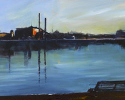 """""""Early Morning"""" Articulate exhibition 2014. Acrylic on canvas 31x61cm. Private Collection"""