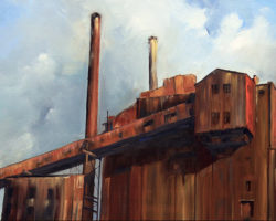 """""""Waiting to Go"""" 2010. Oil. 51x102cm. Private Collection. This was my very first White Bay Power Station painting!"""