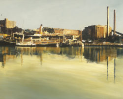 """Blackwattle Bay"" 61x153cm. Oil. 2016. (Private Collection UK) Limited edition reproductions are available 45x100cm & 61x153cm."