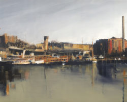 """Study for Blackwattle Bay"" 33x89cm. Oil. 2016. Private Collection. Limited edition reproductions: 33x89cm, 45x100cm and 61x165cm."