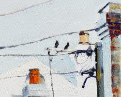 """Birds & Wires"" 2015 oil on canvas. 15x15cm"