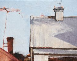 """""""A Grey Roof on Ewell"""" 2017 oil on canvas. 13x18cm. I also painted this in 2015 when the roof was red."""