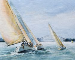 """On the Breeze"" 2018. Oil on canvas 50x74cm. For The Royal Sydney Yacht Squadron, Kirribilli to raise funds for Stepping Stone House.  (providing accommodation & support for young people in some way at risk or homeless)"