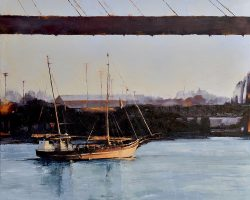 """Blackwattle Bay""  2018. Oil on linen, 104x104cm. One of the last pearling luggers working the Broome coast in the early 1900s, 'Tribal Warrior' is still working but as a training ship in calmer waters in Blackwattle Bay, Sydney. This work is available at: ASMA 2019 National Exhibition, Maritime Museum of Tasmania, 15 Nov-22 March 2020"