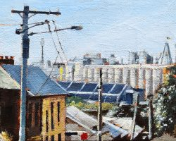 """Silos & the City""  2018. Oil on canvas, 13x18cm. SOLD"
