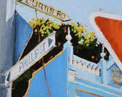 """Those Phillip Curtis Blues""  2018. Oil on canvas, 15x15cm. Striking blues on a corner in Balmain."