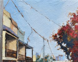 """Rozelle"" 2018. Oil on canvas, 13x18cm. Typical Rozelle terraces & a lovely red tree. SOLD"