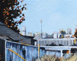 """The Back Fence""  2019. Oil on canvas, 13x17cm. A rare space in old Rozelle. SOLD"
