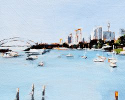"""""""Birchgrove""""  2019. Oil on canvas, 13x17cm. Calm waters looking over the wharf towards the city."""