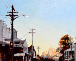 """Dusk on Darling II""  2019. Oil on canvas, 13x17cm. A perfect sunset in Balmain looking at the city. SOLD"