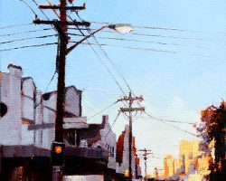 """Dusk on Darling III""  2019. Oil on canvas, 15x15cm. Late one afternoon in Balmain looking at the city. SOLD"