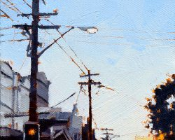 """Dusk on Darling I""  2019. Oil on canvas, 17x13cm. A perfect sunset on Darling Street. SOLD"